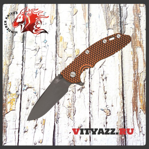 "Rick Hinderer Knives XM-18 3.5"" Flipper, Black DLC S35VN Spear Point Blade, Orange/Black G10 Handle Exclusive"