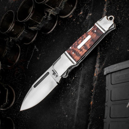 "Andre De Villiers Knives Impi Lockback Folding Knife 3.25"" D2 Spear Point Blade, Stainless Steel Handles with Rosewood Inlays"
