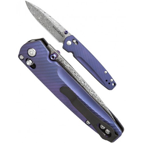 Benchmade Gold Class Limited Valet, Blue-Violet Anodized Titanium Handle, Ladder Pattern Damasteel Blade 7.5 cm, 485-171