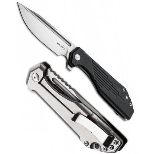 "Boker Jason B. Stout Design ""JB Stout Lateralus"" Flipper, Stonewashed D2 Blade, Black G-10 Handle 9.5 cm, 01BO778"