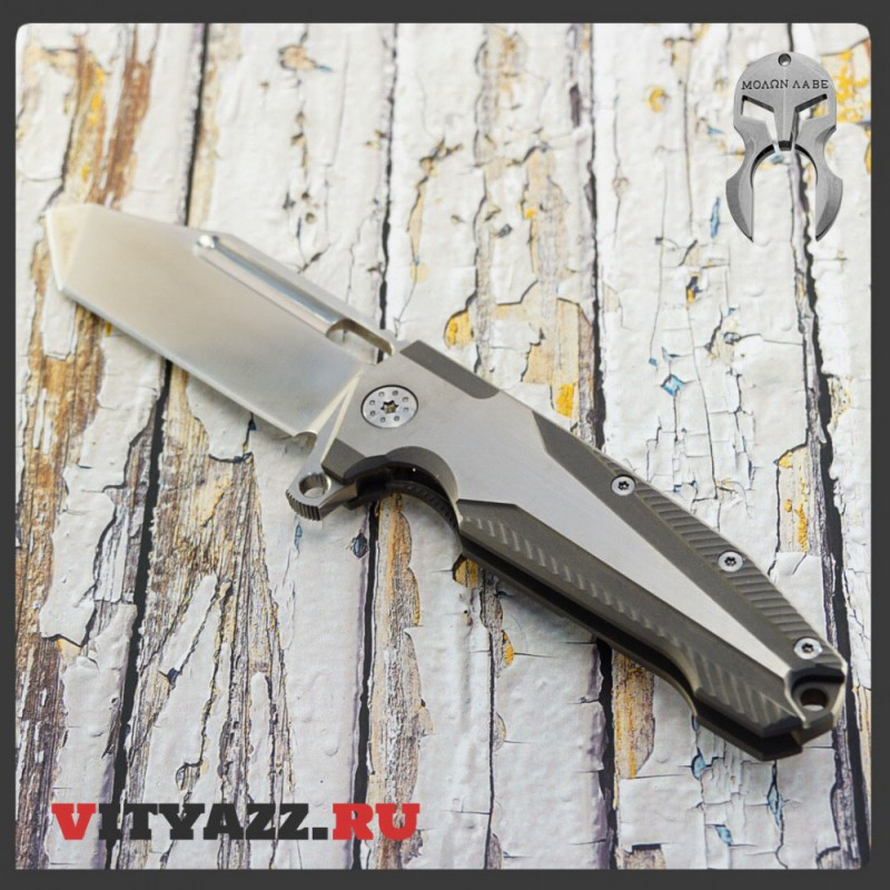"Andre De Villiers Knives Beast Flipper 3.75"" S35VN Tanto Blade, Milled Titanium Handles, Exclusive"