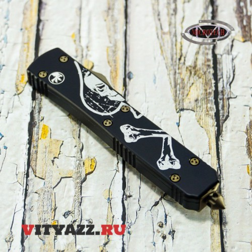 Microtech Exclusive Memento Mori Ultratech Drop Point Blade Left Death Card